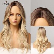 Perruque Lace Wig synthétique ondulée pour femmes, postiche naturelle, résistante à la chaleur, brun à blond ombré