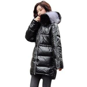 Image 1 - ผู้หญิงเสื้อคลุมยาวลงเสื้อโค้ท2020ฤดูหนาวหนาลงเสื้อแจ็คเก็ตกระเป๋าWarm Outwearเงินขนาดใหญ่หญิง