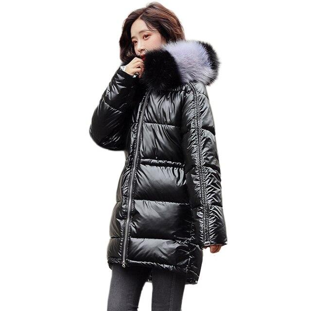 ผู้หญิงเสื้อคลุมยาวลงเสื้อโค้ท2020ฤดูหนาวหนาลงเสื้อแจ็คเก็ตกระเป๋าWarm Outwearเงินขนาดใหญ่หญิง