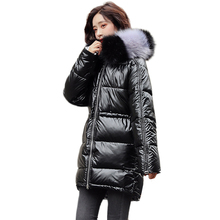 women fur collar hooded long down coats 2020 winter thick down jackets with pockets warm outwear silver oversized coat female