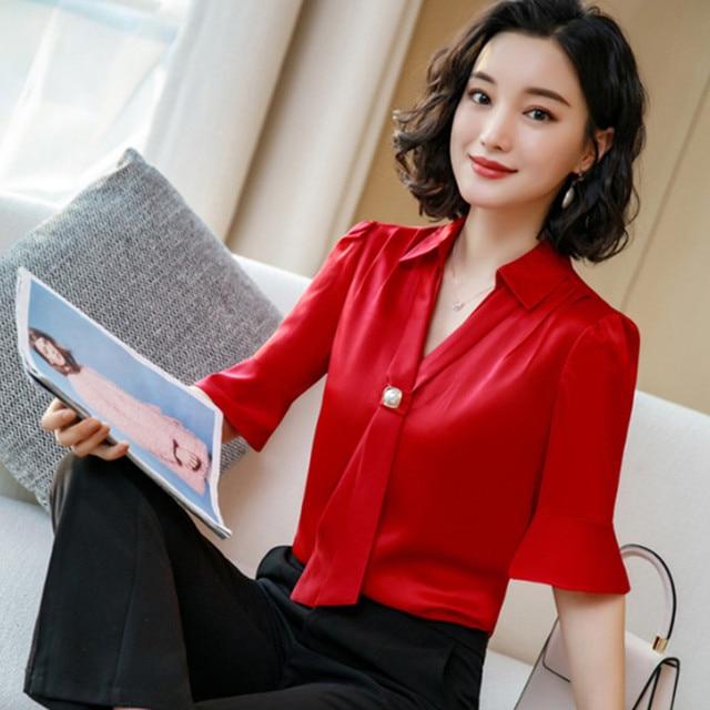 Korean Silk Women Blouses Woman Satin Blouse Tops Plus Size Blusas Mujer De Moda 2020 Women V Neck Soild Shirt Top Camisas Mujer 1