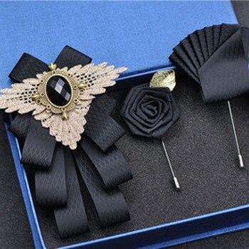 New Bow Tie Vintage Rhinestone Handmade Ribbon Brooch Bowtie Elegant Jewelry Collar Pin Cravat Wedding Accessories Pocket Square