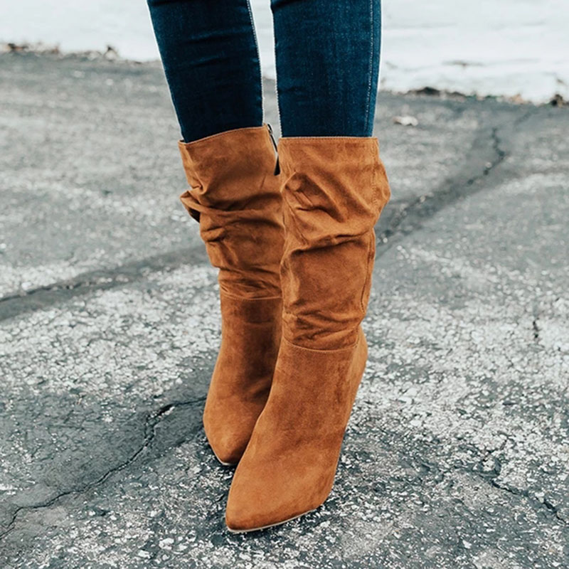 New Fashion Women Boots Autumn Winter Temperament Ladies Round Head Long Female Zipper Single