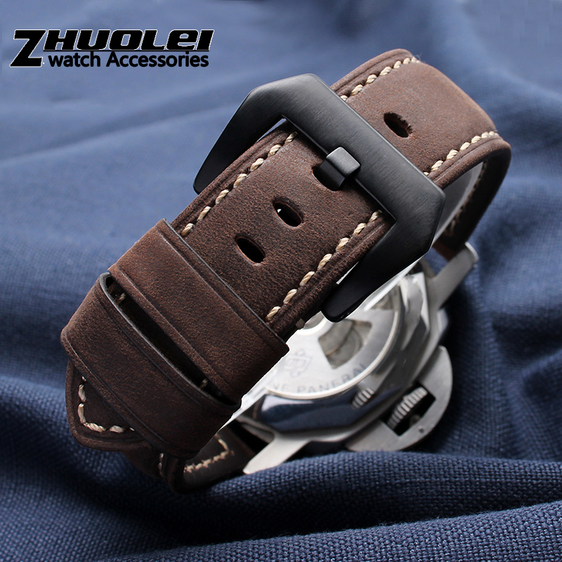 Handmade Watchband For Brand Wristband Accessories Vintage Genuine Crazy Horse Leather 20mm 22mm 24mm 26mm Watch Band Strap