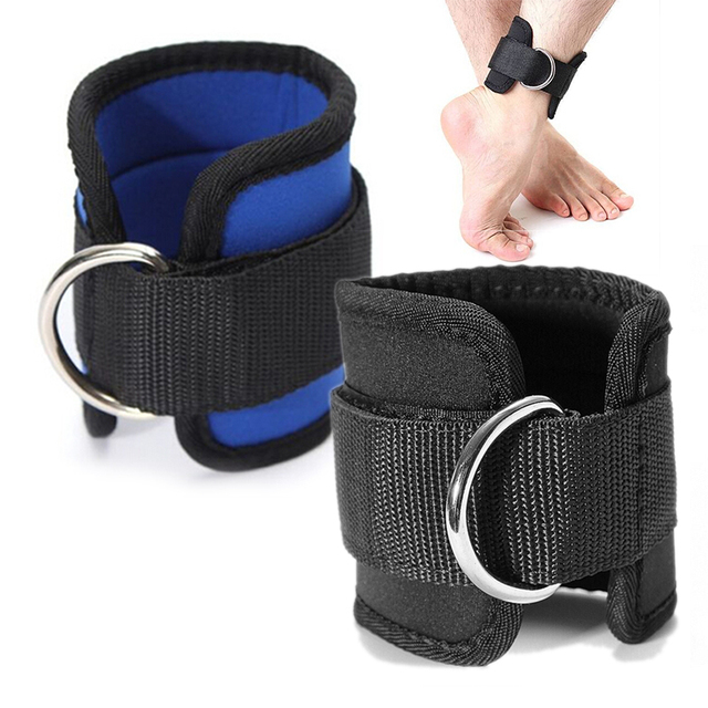D-ring Ankle Strap Buckle Body Building Resistance Band Gym Multi Thigh Leg Ankle Cuffs Power Weight Lifting Fitness Rope