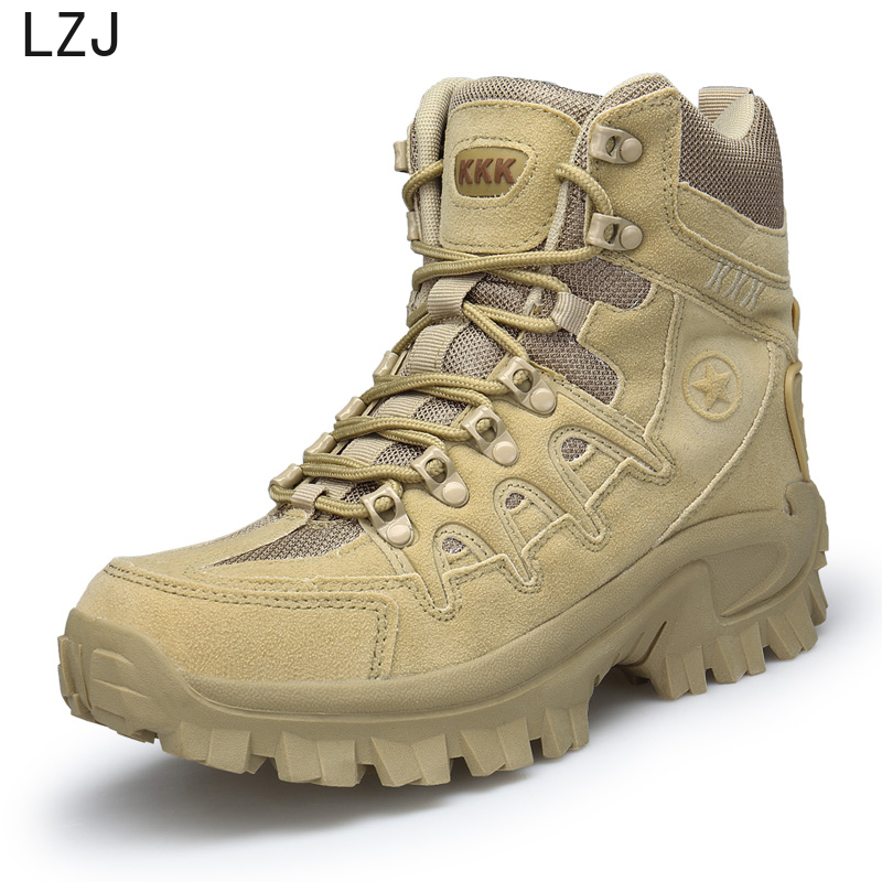 LZJ Big Size 39-46 Desert Tactical Mens Boots Wear-resisting Army Boots Men Waterproof Outdoor Hiking Men Combat Ankle Boots