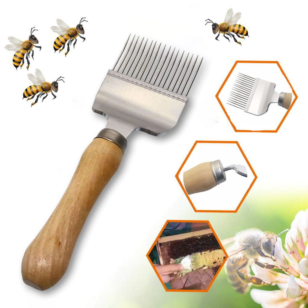 Beekeeping Stainless Steel Bee Hive Uncapping Honey Fork Scraper Shovel Tool US