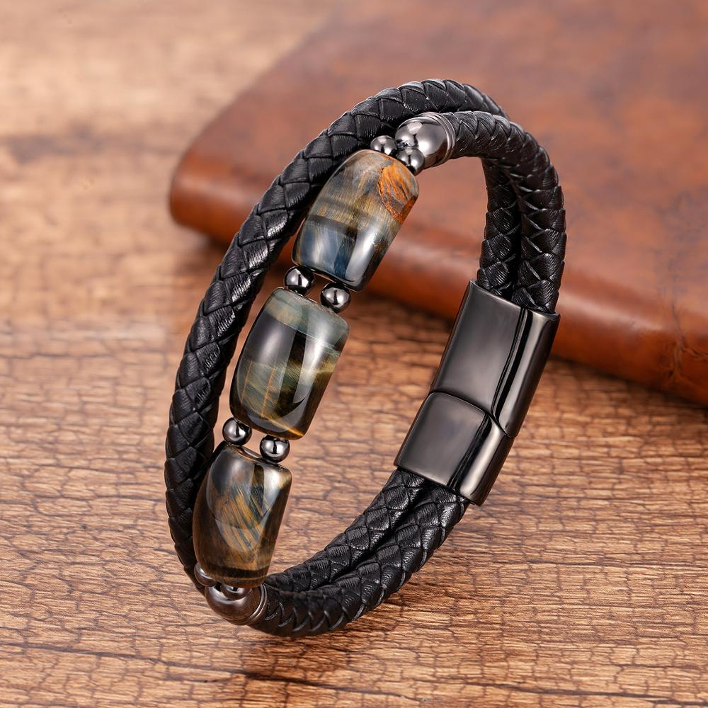 Высокое качество камень тигровый глаз браслеты из нержавеющей стали для мужчин с геометрическим рисунком, бусы из натурального камня, кожа...