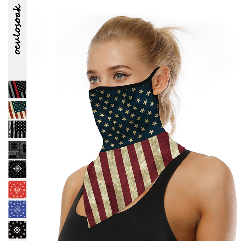 2020 Hot Selling Digital Printed Outdoor Riding Hanging Ear Insect Mask Multifunctional Scarf Triangle Scarf
