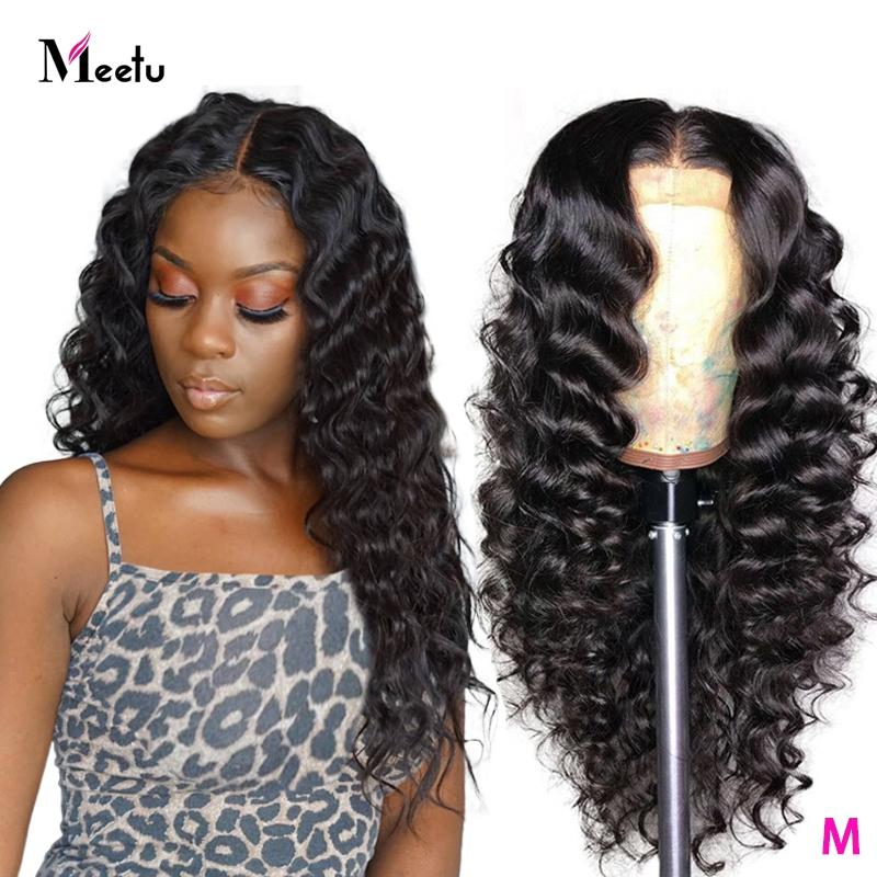 Meetu Lace Closure Wig 4X4 Loose Deep Wave Wig Brazilian Lace Front Human Hair Wigs Pre-Plucked Human Hair Wigs For Black Women