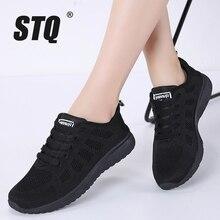 STQ 2020 bahar ayakkabı kadın düz ayakkabı kadın rahat dantel up nefes örgü ayakkabı bayan ayakkabı kadın yürüyüş ayakkabısı A08