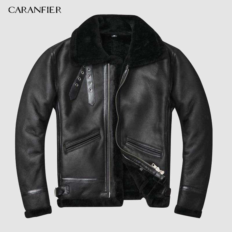CARANFIER Original Ecological Sheepskin Men's Leather Fur Lamb Hair Men Retro Classic Standard Euro Size Winter Warm Jacket 3XL