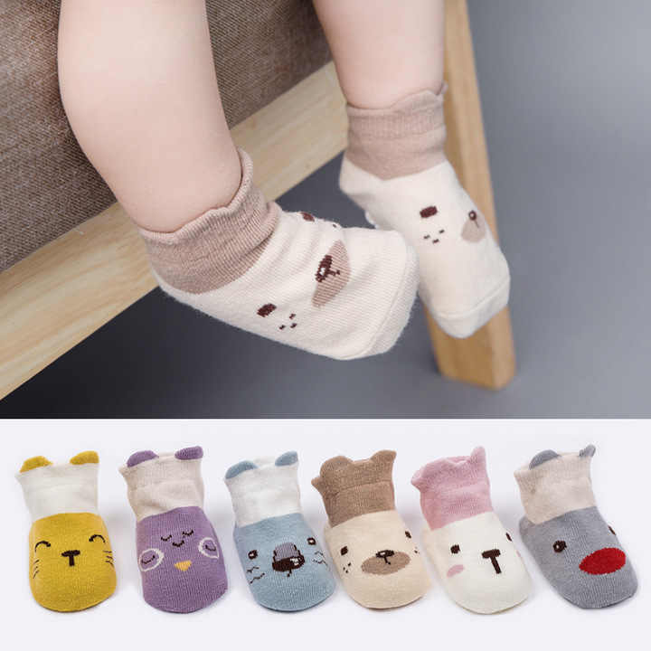 New 0-3Y New Soft Cotton Baby Socks with Rubber Sole Toddler Boys Girls Cute Cartoon Animal Print Floor Socks Short-ankle Socks
