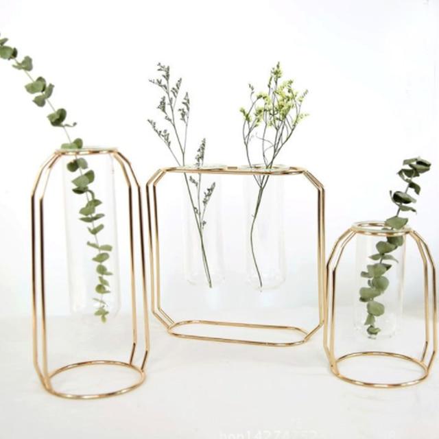 1 Set Nordic Vase With Glass Cuvette Geometric Shape Vase Glass Holder Stand Elegant Vase Decoration Home Bedroom Decor 2