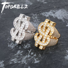 TOPGRILLZ Fashion Rock Iced Out Bling Gold Silver Color US Dollar Sign Rings AAA Cubic Zircon Hip Hop Ring for Men Jewelry(China)