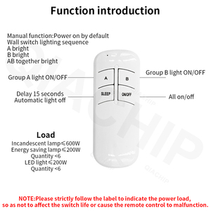 Image 5 - QIACHIP 1/2/3 웨이 릴레이 AC 220V RF 원격 디지털 무선 원격 제어 스위치 천장 팬 패널 제어 스위치 전구