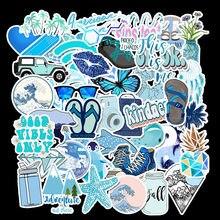 50 PCS Cartoon Blau VSCO Aufkleber Für Chidren Spielzeug Wasserdichte Aufkleber zu DIY Koffer Laptop Fahrrad Helm Auto Abziehbilder