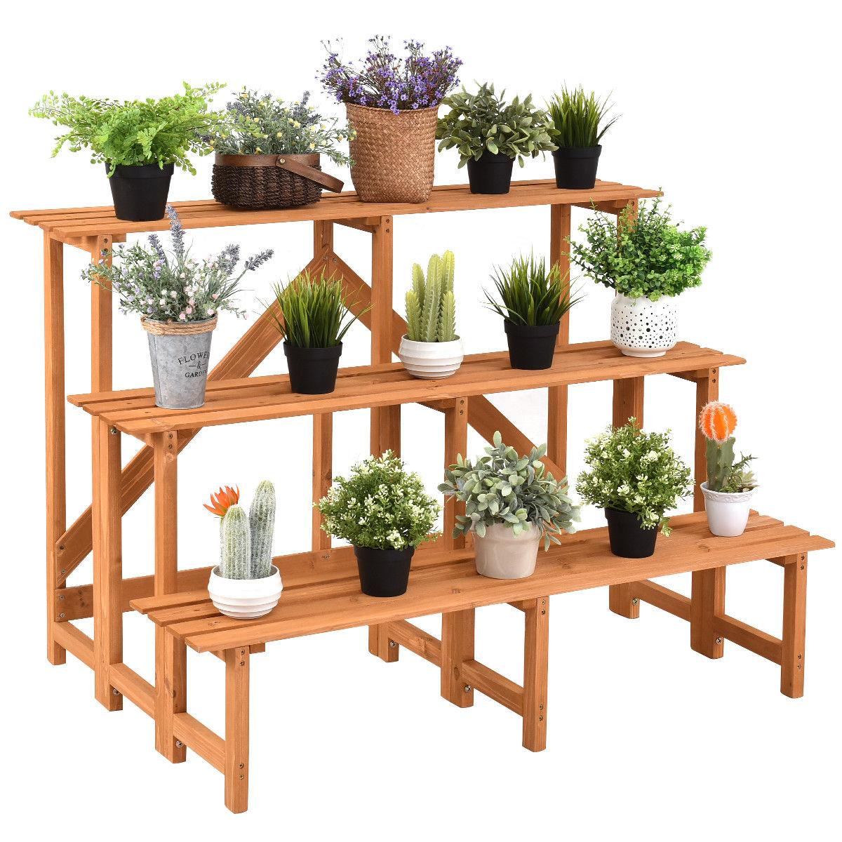 Costway 3 niveaux large support de plante en bois support de pot de fleur présentoir étagères escabeau
