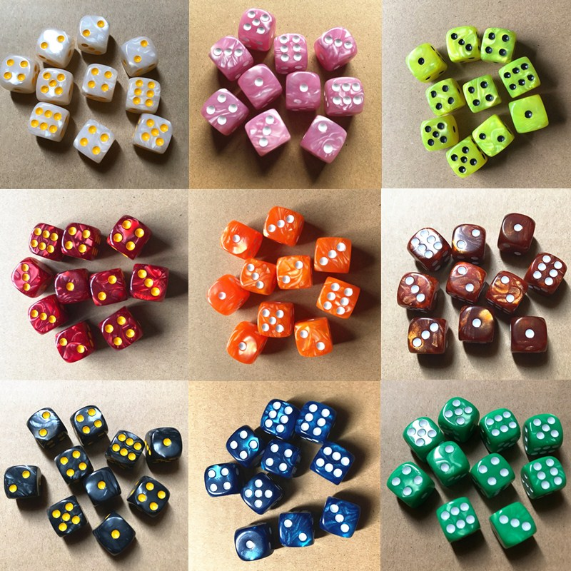 10pcs/set Round Corner Pearl Gem Dice 6 Sided 16mm Dice Playing Table Board Bar Games Party Funny Tools Entertainment Supplies