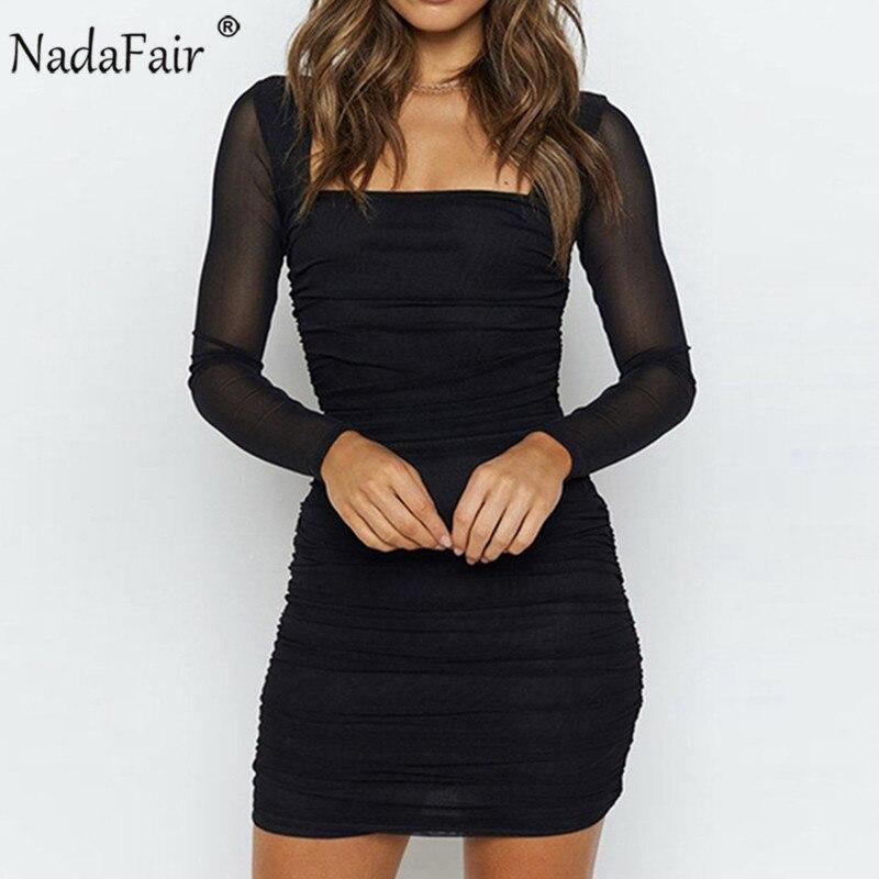 Nadafair Square Collar Black Women Sexy Mesh Dress Autumn Long Sleeve Ruched Transparent Party Mini Bodycon Dress Winter