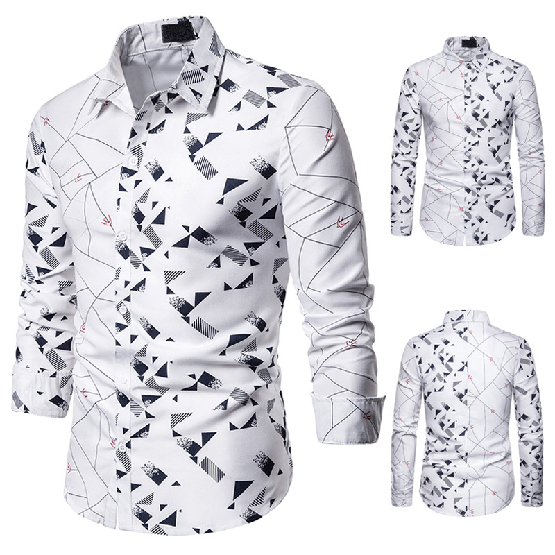 Men's Shirt Left And Right Matching Characteristic Fashion Leisure Pattern Design Men's Polo Long Sleeve Shirt N5216