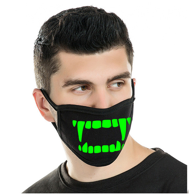 Reusable Luminous Funny Smile Expression Cotton Anti Dust Mouth Face Mask For Black Kpop Unisex Face Mouth Muffle Mask Fashion 5
