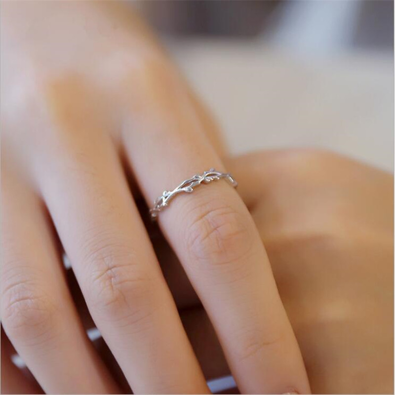 New Simple Twig Thorn Leaf 925 Sterling Silver Jewelry Not Allergic Popular Branch Exquisite Women Opening Rings SR605