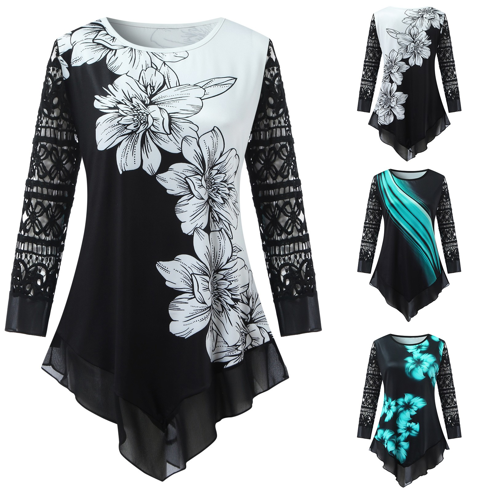 5xl Plus Size Flower Printed Tunic Shirts For Women Loose O neck Blouse Patchwork Lace Sleeve Nine Points Sleeve Shirt Top Mujer