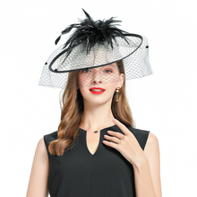 Fedoras Hat Fascinator For Women Elegant Church Linen veil Headpiece Kentucky Derby Bridal Cap British Tea Party Wedding