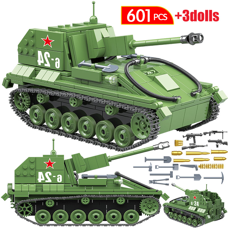 601PCS WW2 Military City Building Blocks For Legoingly SU-7M Tank Soviet Union BT-7L Light Tank Figures Blocks Toys For Boy