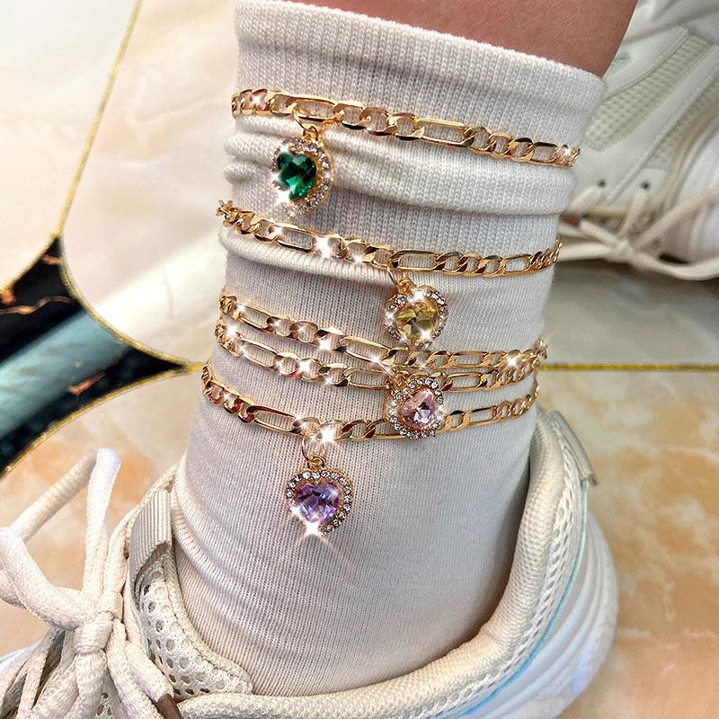 Flatfoosie 2Pcs/Set Multicolor Heart Crystal Foot Bracelet Copper Feet Chain Friendship Gifts Anklet For Women Foot Jewelry Gift