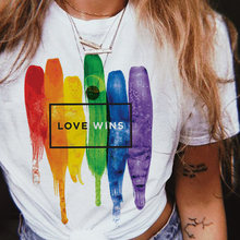 Lgbt gay t-shirt donna donne tee shirt donna bisessuale Amore Vince top kawaii lesbiche arcobaleno t-shirt amore è amore tshirt lesbiche femme(China)