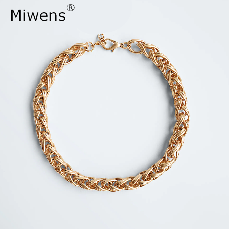 Miwens Zaที่ไม่ซ้ำกันโลหะหัวใจจี้สร้อยคอผู้หญิงMaxiคู่Chian Linkสร้อยคอหญิงทองลูกปัดChoker Collarเครื่องประดับ