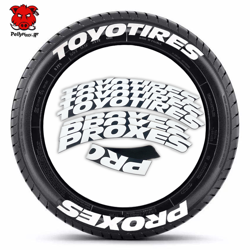 8PCS Car Wheel Stickers Car Tuning Universal 3D Permanent PVC Conjoined Tire Lettering Sticker Motorcycle Label Letters