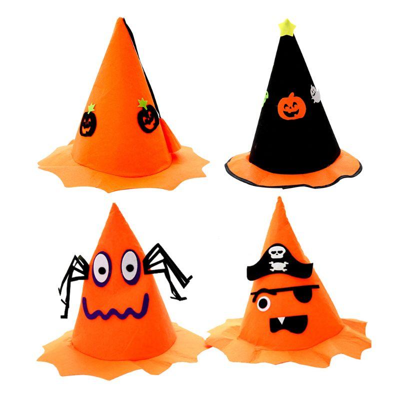 4PCS Halloween Party Decorations Hats Cartoon Cap Ornament Hat Cute Kids Toys For Children