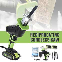 Drillpro 48V Cordless Reciprocating Saw +4 Saw blades Metal Cutting Wood Tool Portable Woodworking Cutters With 1/2 Battery