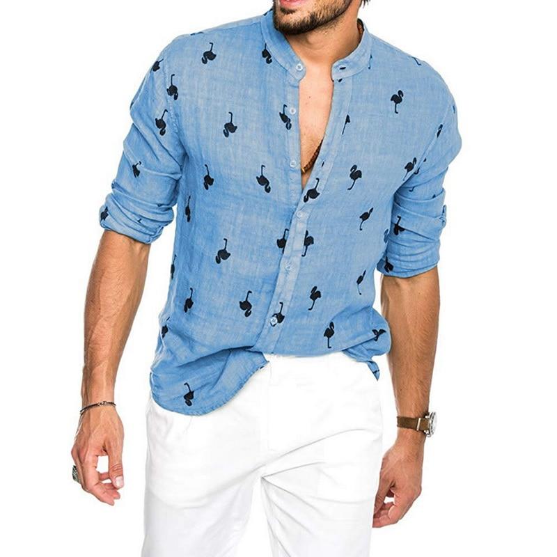 2019 New Summer Beach Hawaiian Flamingo Print Shirt Button Chemise Hombre Slim Casual Linen Long Sleeve Shirt Blusa Masculina