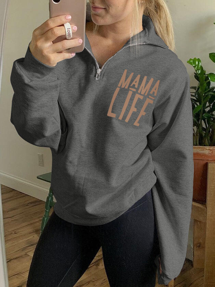 Mama Life Zipper Sweatshirt - Gray