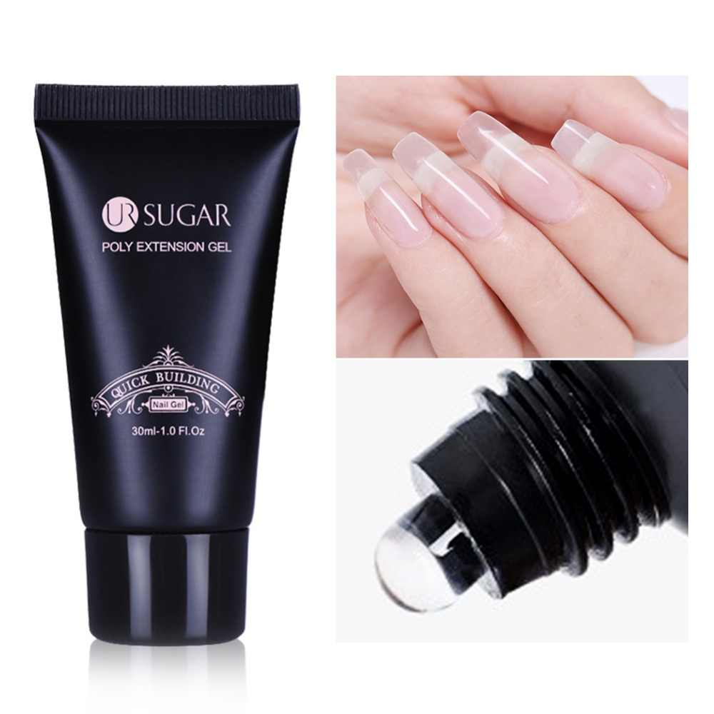 Ur Suiker 30G Poly Extension Gel Nail Acryl Roze Wit Clear Crystal Uv Led Gebouw Gel Tips Enhancement Slip oplossing Gel