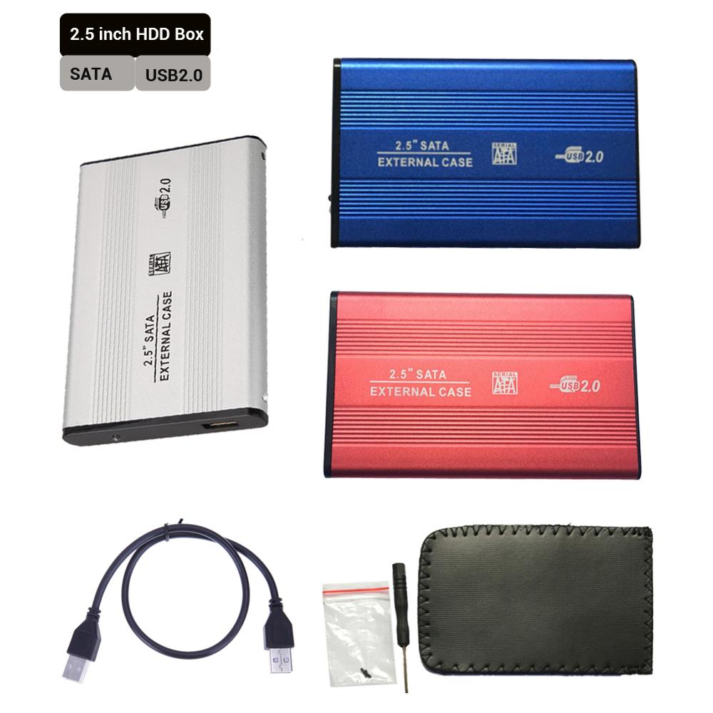 2.5 Inch USB 2.0 SATA HDD Case SSD Box External Mobile Hard Disk Drive Box 2.5'' Usb Sata Enclosure Case Aluminum Alloy Shell