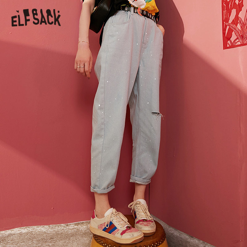 ELFSACK Blue Solid Sequin Ripped Washed Straight Casual Jeans Woman 2020 Spring New Pure Bright Korean Ladies Daily Trousers