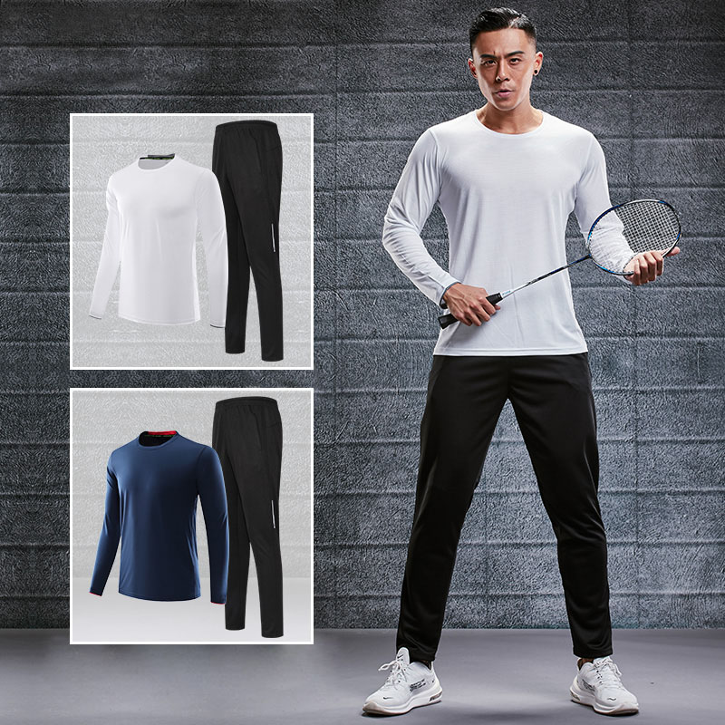 Long Sleeve Badminton Suit Men Quick Drying Top Autumn Winter New Tennis Wear Training Clothing Sportswear Pants Football Shirt