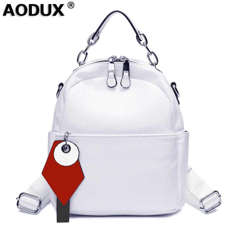 Aodux 100% אמיתי פרה עור שחור לבן צבע נשים עיצוב תרמיל גברת ילדה אמיתי שכבה עליונה עור פרה ספר תיק סגנון תרמיל