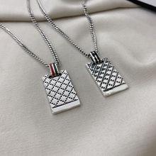 S925 Necklace Retro GG Old Craft Classic Fashion Square Necklace