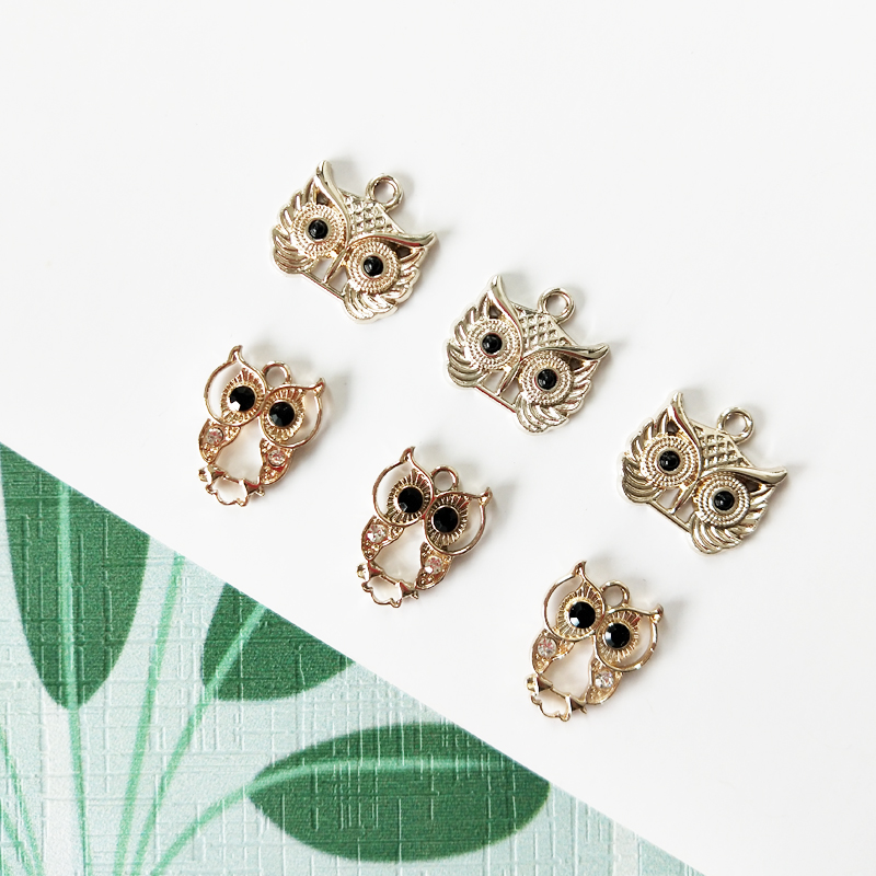 10pcs Black Rhinestone Eyes Owls Alloy Charms Animals Bird Owls Pendant DIY Jewelry Accessories Earrings Bracelets Finding FX116 in Charms from Jewelry Accessories