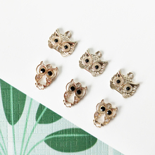 10pcs Black Rhinestone Eyes Owls Alloy Charms Animals Bird Pendant DIY Jewelry Accessories Earrings Bracelets Finding FX116