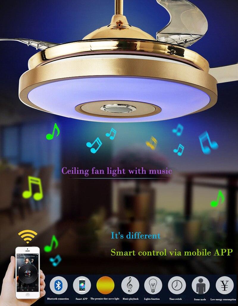 Led Modern Bluetooth Music Fan Light Ultra Quiet Intelligent Remote Control Telescopic Ceiling Fan Light Restaurant Living Room Aliexpress