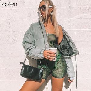 Image 5 - KLALIEN Winter Fashion Reflective Short Women Coat Jackets 2019 high waist zipper fly pockets female casual thick warm clothing