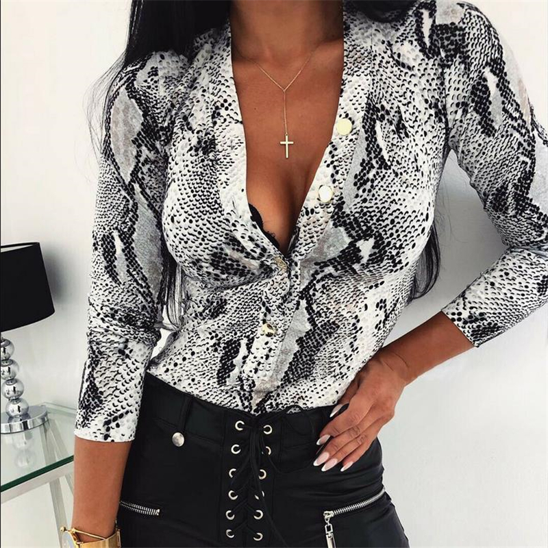 Sexy Deep V Neck Leopard Lady Bodysuits Autumn Long Sleeve Casual Jumpsuit Bodysuit Tops Women Romper Snake Skin Print Bodysuit