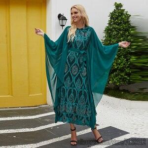 Женское мусульманское платье-Кафтан с вышивкой и пайетками, абайя, Дубай, Турция, хиджаб, кафтан, кафтан, мусульманская одежда для женщин, Ра...